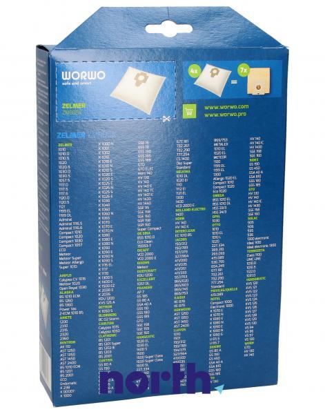 Worki Perfect Bag Worwo 1010 (4szt.) + filtr wlotowy / wylotowy (2szt.) do odkurzacza Zelmer ZMB05K,1