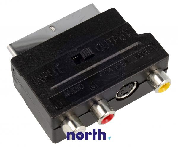 Adapter przełącznik SCART - CINCH (wtyk//S-VIDEO gniazdo x3/gniazdo) standard,0