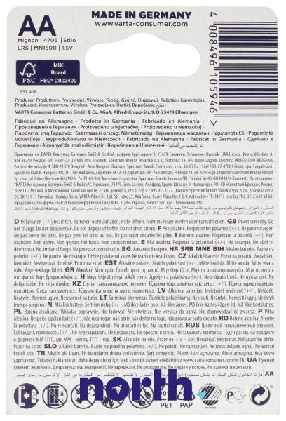 R6 | LR6 | Bateria AA (Max Tech) 1.5V Varta (4szt.),2