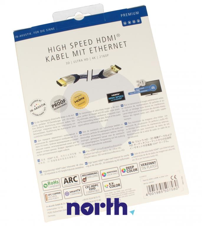 Kabel HDMI 4K Premium 3m INAKUSTIK Kabel okrągły 0042303,1
