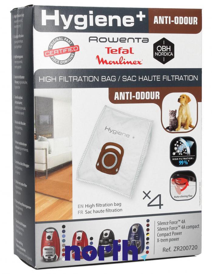 Worki Hygiene+ Anti-Odour do odkurzacza Rowenta ZR200720 4szt.,0