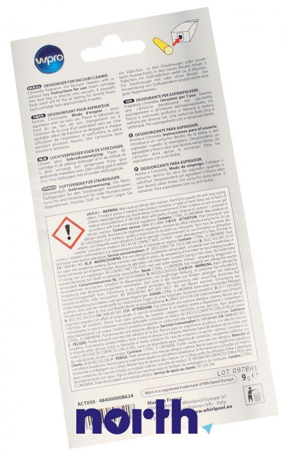 Wkład zapachowy cytrynowy 5szt. Wpro ACT050 do odkurzacza,1