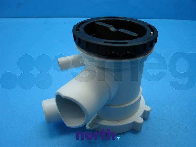 Filtr z obudową do pompy odpływowej do pralki Smeg 813410202,0
